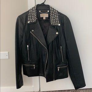 Michael Kors black vegan leather studded jacket
